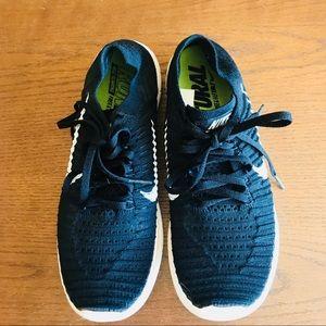 Nike Free Flyknit Black with White Swoosh